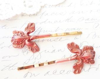 Rose Gold Iris Flower Hair Pins - Iris Bobby Pin - Woodland - Rustic - Nature - Bridal - Flower Bobby Pins