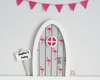Personalised fairy door -  flamingo decor - miniature wooden fairy door - elf door - tooth fairy pretend play magic girls room girls gift