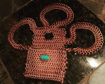 Copper chainmail turquoise purse/pouch belt