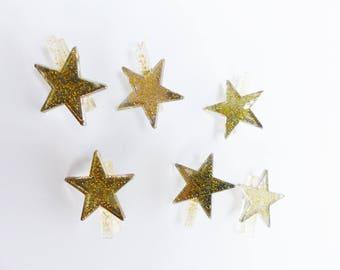 6 mini clips linen star glitter gold
