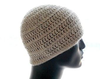 Men's Wool Hat, Crochet Beanie Hat, Texture Stripes, Undyed Natural Color Hat, Small Size Hat