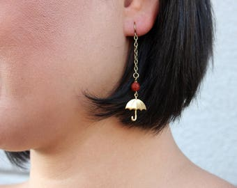 Des Moines Traveller Umbrella Earrings with Carnelian // Dangle Umbrella Earring // Long Chain Drop Earring // Gift for Her // Boho Jewelry