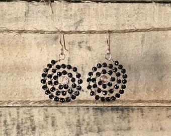 Black crystal spirals on rose gold wire
