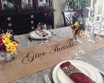 Burlap Table Runner with Give Thanks in the center - Thanksgiving runner Holiday decorating Holiday runner