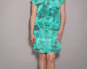 Turquoise dress, casual dress, short dress, work dress, party dress, knee length dress, print dress, modern dress, designer dress
