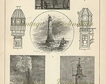1890 LIGHTHOUSES Victorian era vintage print, engraving nautical ocean ship chart wall art vintage b/w illustration