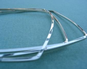 Square Bangles – Set of Three Sterling Silver Bracelets – Stacking Bangles