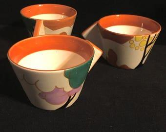 3 Clarice Cliff Art Deco Cups MMA 1993 Museum Replica Metropolitan Museum of Art