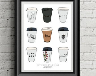 Melbourne Print | Coffee Cups of Richmond | A3