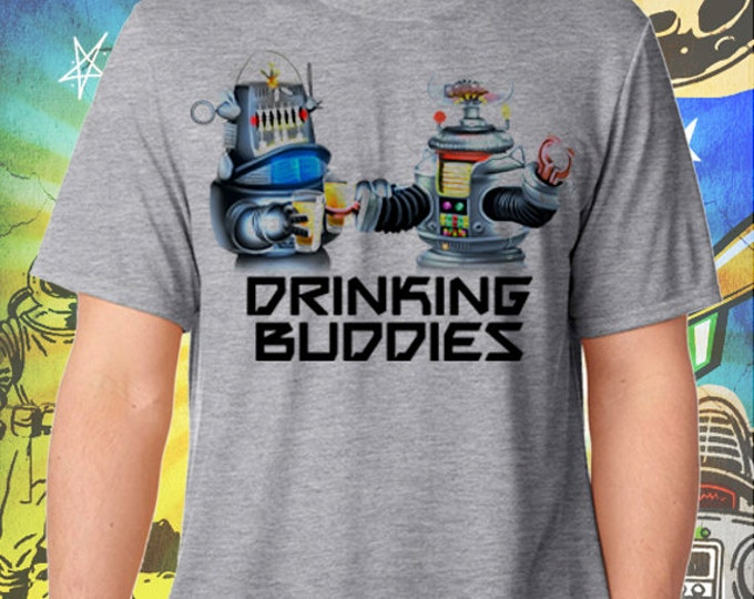 Lost in Space / B9 and Robby Robot Drinking Buddies / Men's Gray Performance T-Shirt