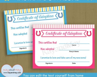 Adoption certificate for baby doll stuffed animal pet and more adoption certificate for horse party pony party horse birthday boy girl kids pony yadclub