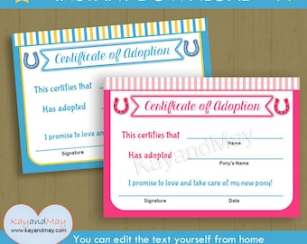 Adoption certificate for baby doll stuffed animal pet and more adoption certificate for horse party pony party horse birthday boy girl kids pony yadclub Choice Image