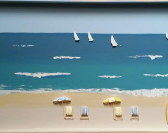 "3D Beach art ""My Local"" - box frame large size 1.2m x .6mH"