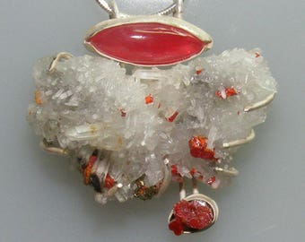 Rhodonite, Crystal with Pyrite, Reagar on Sterling Pendant