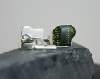 Silver Circuit Board Cufflinks – contemporary cuflinks, computer jewelry
