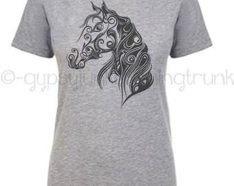 Horse Shirt, Horse Lovers Top, Livestock Shirt, Country Girl Shirt, Flourish Shirt, Love of Horses Top, Love My Horse Shirt, Boho Horse Top