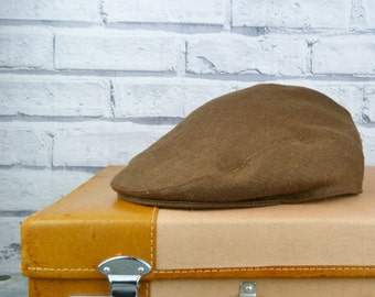 Mens Flat cap - Brown Irish Linen