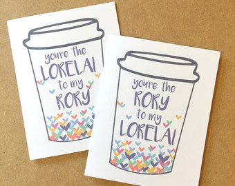 Gilmore girls card, Gilmore girls gift, Mom daughter card, Rory Gilmore, Lorelai Gilmore, Gilmore girls coffee, Rory to my Lorelai card