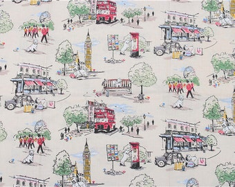4198 - Cath Kidston Billie Goes To Town (Light Beige) Cotton Fabric - 53 Inch (Width) x 1/2 Yard (Length)