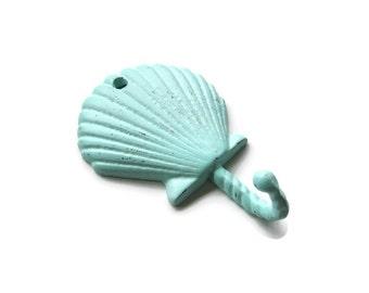 Seashell Hook w Matching Screw, 21 Colors, Cast Iron Decorative Shell Wall Hook, Beach Nautical Coastal Lake House Decor, Home and Living