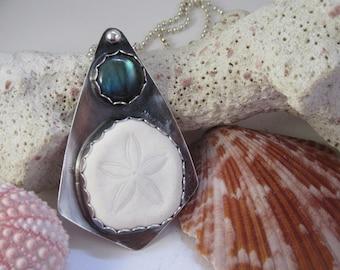 Sandollar and Labradorite Silver Pendant To The Beach To Dream OOAK Summer Memories