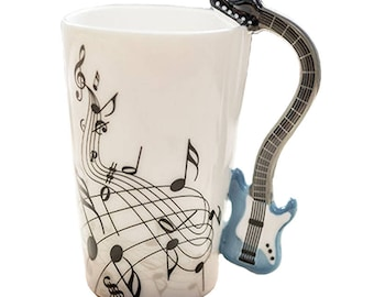 Cup in enamelled ceramics music electric guitar blue. 00004 NS-VEAI-6JSN