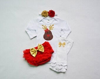 reindeer baby girl christmas outfit - red and gold baby christmas - my first christmas baby girl outfit - my 1st christmas baby