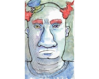 Original Watercolor Illustration - brutus the clown Art by Ela Steel - green blue orange strange lowbrow art