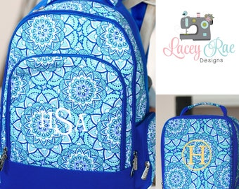 Girls Day Dream Personalized Backpack, Lunchbox, and pencil pouch, preschool backpack, School Age Backpack, Monogrammed, blue geometric