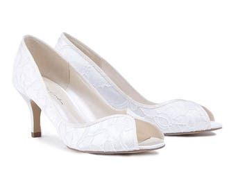 Lace Wedding Shoes - Bridal Shoes - Lace Wedding Shoes - Lace Shoes - Ivory Wedding Shoes - Custom Women's Wedding Shoes - Medium Heels Lace