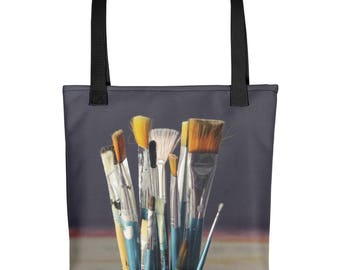 Artist Brush Tote Bag, Art Tote Bag, Artist Tote Bag, Art Tote, Paintbrush Tote, Artsy Tote Bag, Art Person Gift, Artist Gift, Hipster Tote