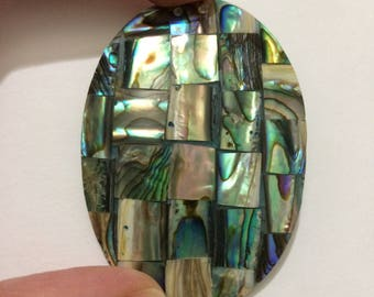 "1 3/4"" x 2 1/2"" Abalone Mother of Pearl Patchwork Design Oval Thin Pendant"