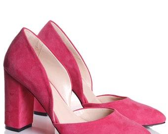 Pink shoes bridesmaid shoes Wedding Shoes bridal shoes pump shoes heels pointed toe pumps leather pumps Wedding Heels custom made shoes