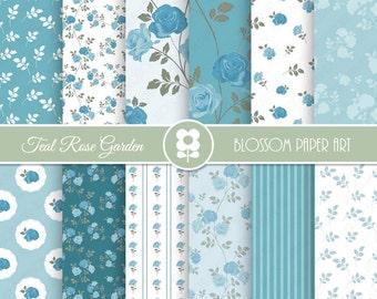 Teal Digital Paper, Floral Digital Papers, Floral Digital Scrapbooking Pack - Blue - Teal Rose Papers - INSTANT DOWNLOAD - 1998