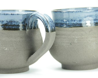 2 Coffee Mug Sets, Insulated Coffee Mug, Ceramic Mug, Larg Coffee Mug, Black Coffee Mug, Clay Mugs, Blue Cup, Soup Mug, Espresso Mug, Israel