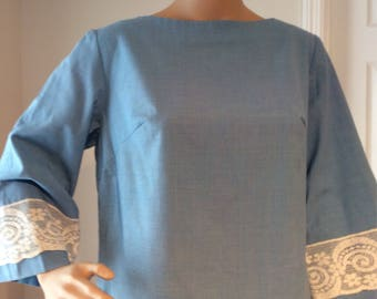 Blue with Lace Detailing knee length dress Office Dress back zipper, with boat neckline Size 8