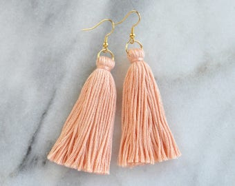Peach Tassel Earrings, Tassel Earrings, Dangle Earrings, Bohemian Earrings, Long Tassel Earrings, Bridesmaid Gift, Blush Tassel