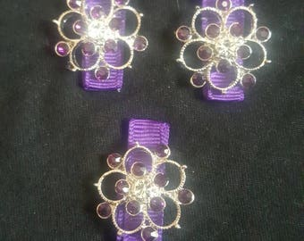 Purple clips with fancy flowers and purple bling