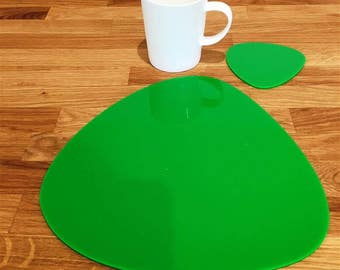 Pebble Shaped Placemats or Placemats & Coasters - in Bright Green Gloss Finish Acrylic 3mm