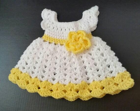 Gelb häkeln Baby Säugling Baby Kleid handgefertigte Baby