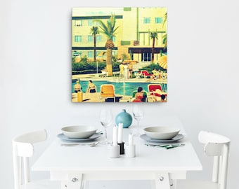 Father's Day Gift, Beach Art Canvas Art, Outdoors Art, Beach Decor Art Mid Century Art Swimming Pool Art, Dad Gift, Summer Outdoors Gifts