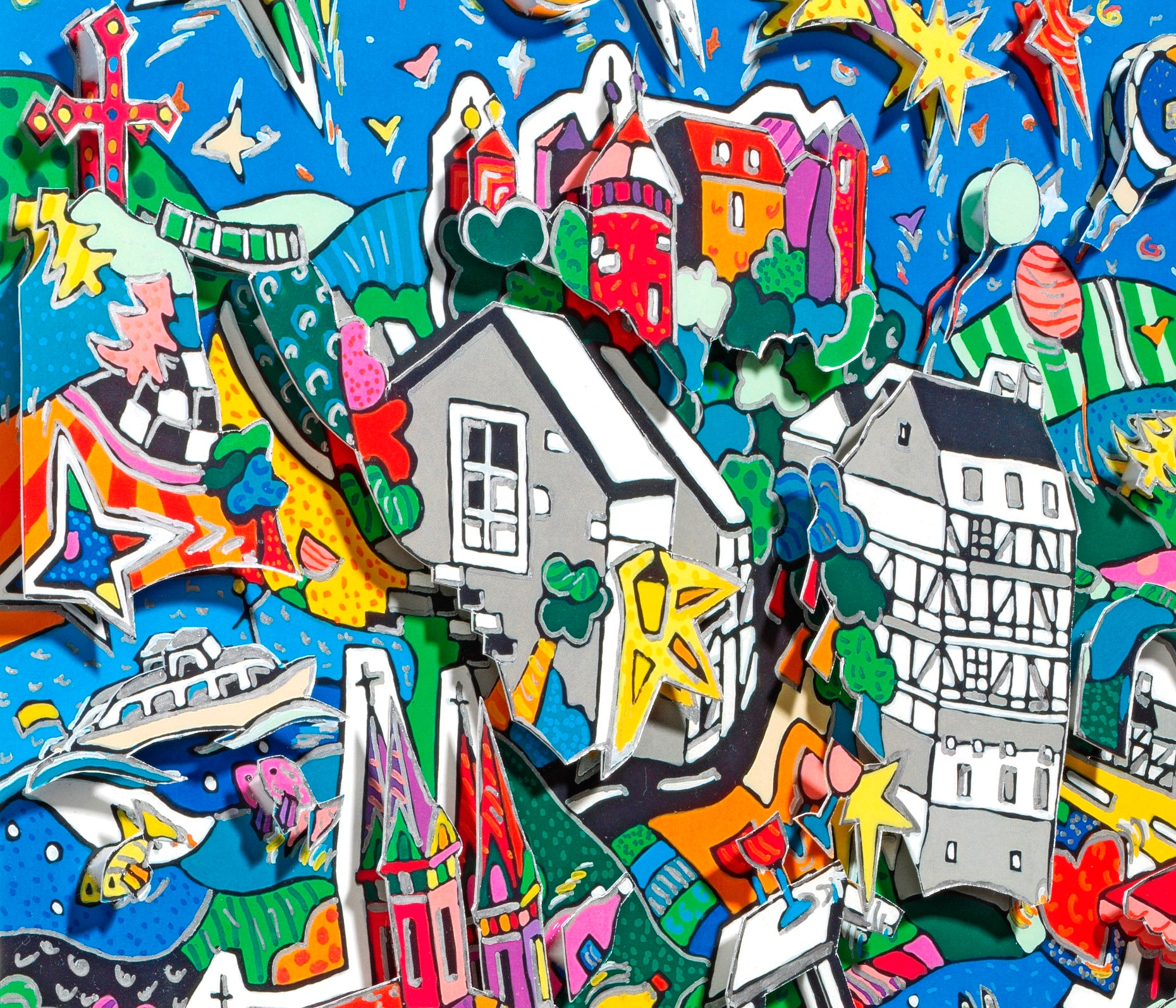 monschau eifel 3d pop art bild skyline souvenir druck burg. Black Bedroom Furniture Sets. Home Design Ideas