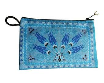Small money bag, Make up bag, Coin purse, Kilim design, Tulip - (Code: ESB208)