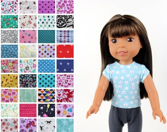 Fits like Wellie Wishers Doll Clothes - The Trendy Tee, You Choose Print   14.5 Inch Doll Clothes
