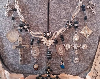ROSARIES AND CROSSES beautiful rhinestone vintage antique assemblage necklace