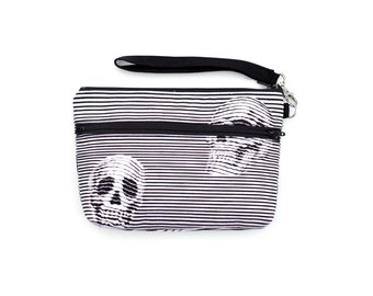 Black and white 3D Skull Wristlet with removable strap - punk rock