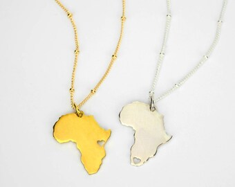 Personalized South Africa Pendant Necklace, Home Country Necklace, Continent Necklace, Gold Africa Necklace, Silver Homecoming Necklace
