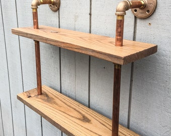 Copper Pipe Bookshelf Reclaimed Wood Wall Mount Bookshelf Brass Bronze Black or Galvanized Pipe Wall Mounted Shelf Floatimg Shelf