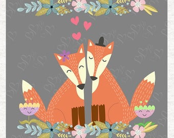 Valentine's Foxes, Love Fox Crafting Panels   Upholstery   Sewing   Craft   Printed Fabric Panels