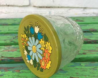 Vintage Ball Quilted Crystal Floral Jelly Jar